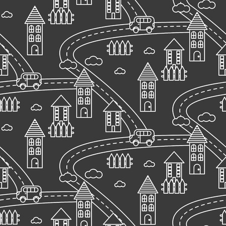 hamlet: Outline village seamless vector pattern. Rural landscape with road, houses, car and fields repeat background. White line style dark grey hamlet.