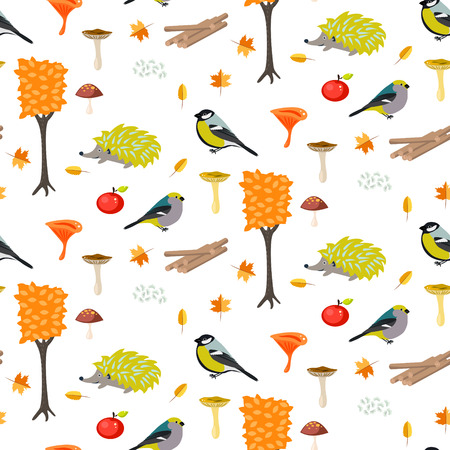 titmouse: Cute cartoon forest seamless pattern with birds and hedgehogs. Trees and mushrooms forest pattern.