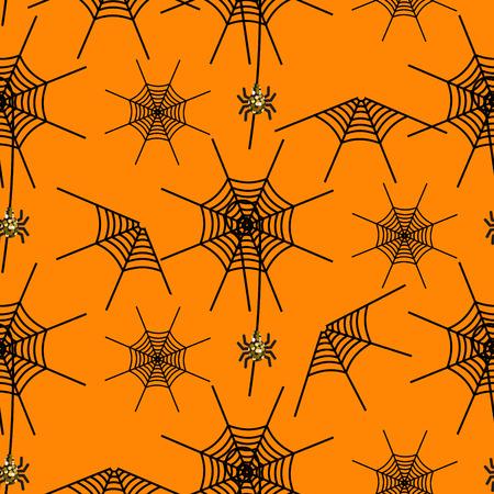 spider  net: Halloween party spider net vector pattern. Black and orange spooky background with glitter spider.