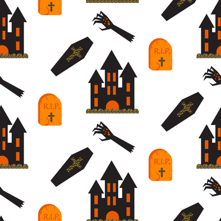 chateau: Halloween vector seamless pattern. Black castle, tomb, coffin and zombie hand scary background.