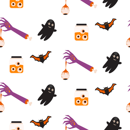 flying bats: Halloween vector seamless pattern. Flying bats and ghost, zombie hand holding eye, jar.