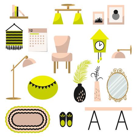 Decoración y juego de muebles de vectores. Piso estilo ilustración interior. Elementos de la decoración de muebles modernos en interior contemporáneo. Foto de archivo - 66865101
