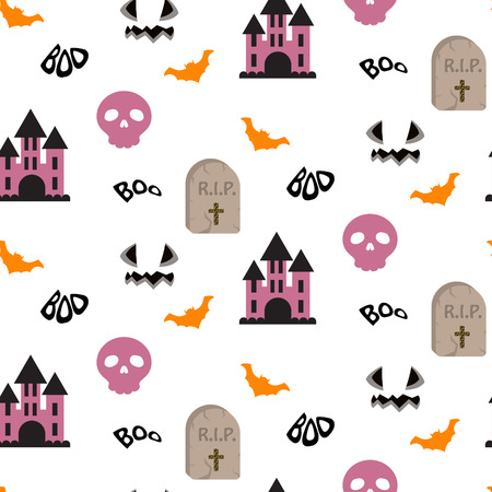 chateau: Halloween vector seamless pattern. RIP tomb, flying bats, skulls and purple castle repeating background on white. Illustration