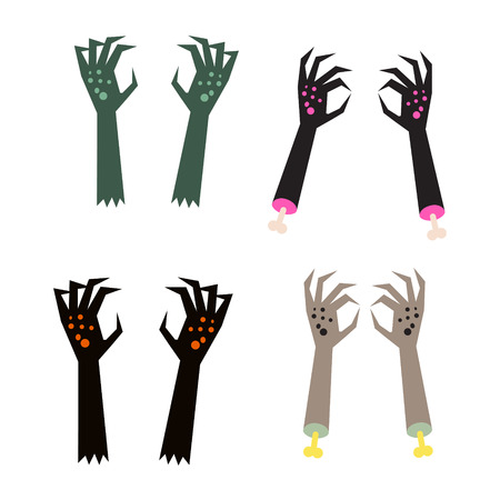 Creepy zombie corpse hands vector set. Scary black and green hands with gnarled fingers.