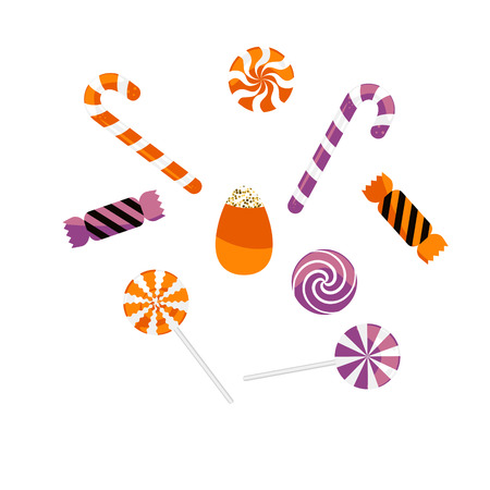 Halloween treat caramel candies vector set. Cartoon sweet lollipop drops icons.