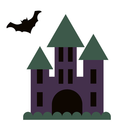 chateau: Dark gloomy castle and flying bat vector flat style icon. Spooky cartoon chateau icon.