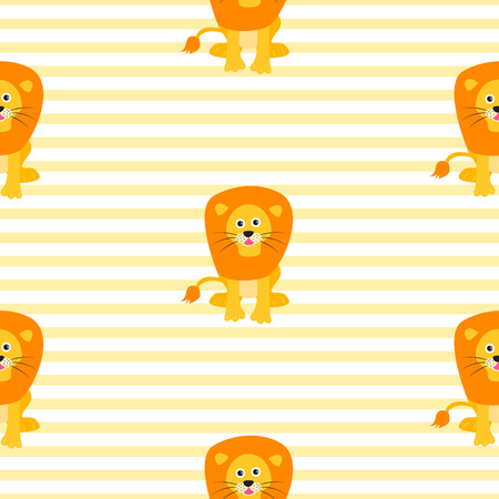 Cute lion seamless vector pattern. Cartoon yellow lion wild safari animal on striped background for kid textile prints and apparel.