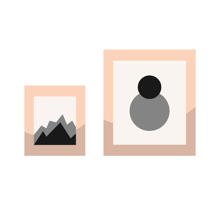 wall decor: Images in frames on wall vector illustration. Wall decor elements.