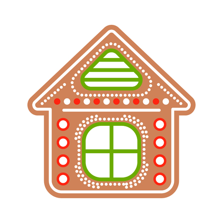 gingerbread house: Gingerbread house cookies vector illustration. Ginger biscuit classic Christmas figure. Illustration