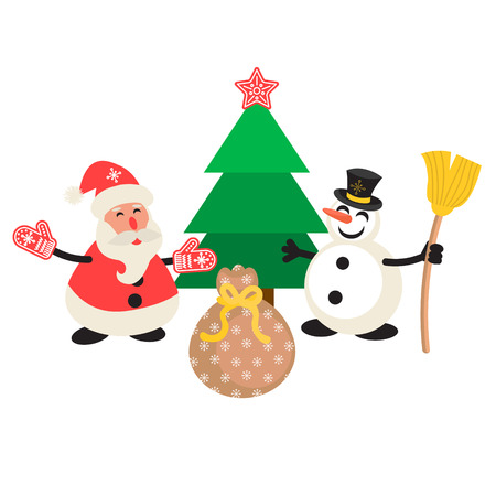 carrot tree: Santa Claus and Snowman cartoon vector illustration. New Year personages in front of tree and gift bag.