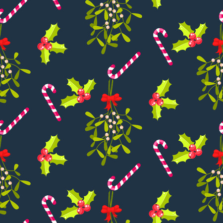 bough: Festive kissing bough seamless vector pattern. Traditional plant tied with red bow. Holly berry and stripes candy cane blue background. Illustration