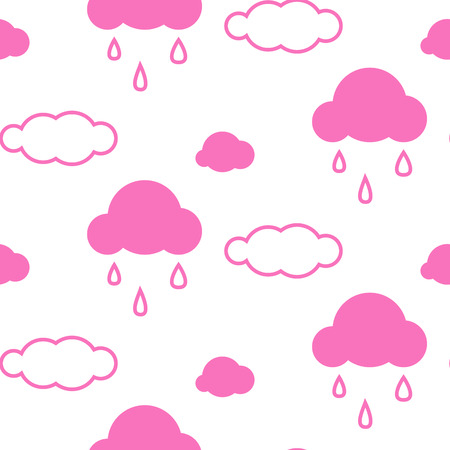 girlish: Pink sky clouds seamless kid vector pattern. Girlish background. Minimalist style textile fabric cartoon scandinavian ornament.