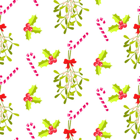 bough: Festive kissing bough seamless vector pattern. Traditional plant tied with red bow. Holly berry and stripes candy cane white background.