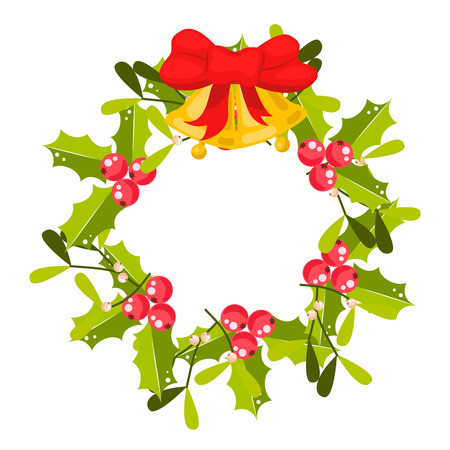 Christmas holly berry wreath vector icon. Traditional decoration for the door with bells and branches.