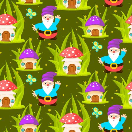 gnomos: Hogar en el bosque de setas y gnomos patrón transparente. fondo verde de dibujos animados.