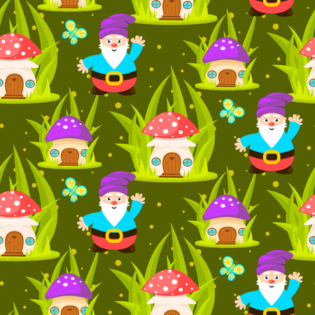 Forest mushroom home and gnomes seamless pattern. Cartoon green background.