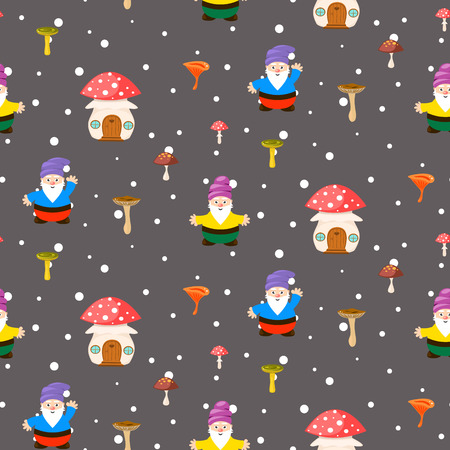 amanita: Mushroom home and gnomes seamless pattern. Cartoon fairytale gray background. Illustration