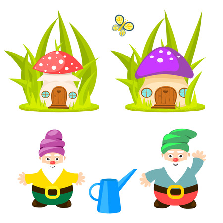 Forest gnomes and mushroom houses vector. Fairytale bearded character isolated on white.