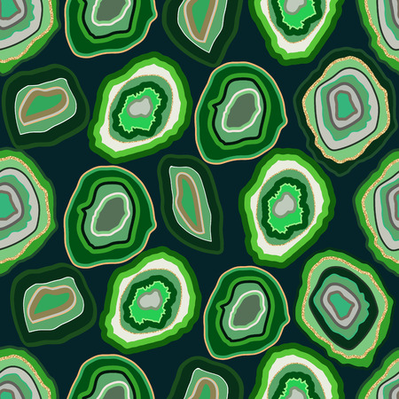 greenery: Vector green agate crystal seamless pattern on emerald. A slice of geode stone minerals or thunder egg. Greenery with gold shimmer strip.