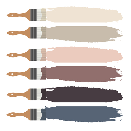 Paint brush icon and color swatch strokes vector. Pale color palette for design.