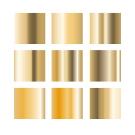 paint swatch: Gold gradient palette swatches vector. Metallic colors. Illustration