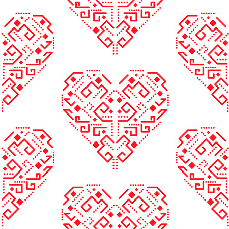 Navajo red heart shape ornament seamless pattern.