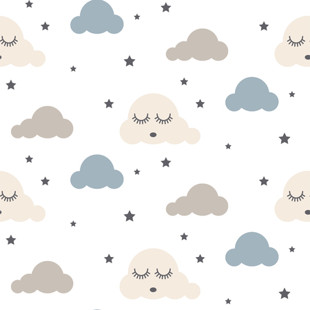 Sleepy clouds seamless vector pattern.