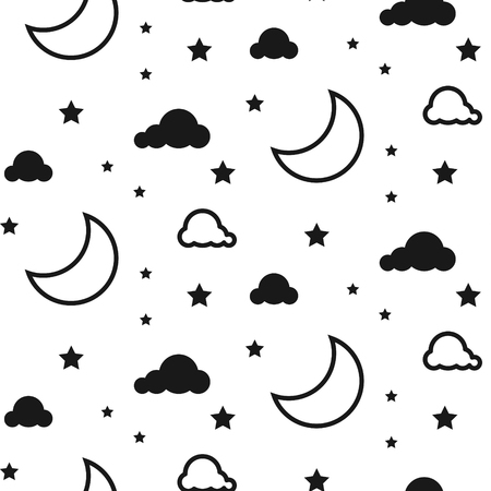 Moon and clouds seamless vector pattern.