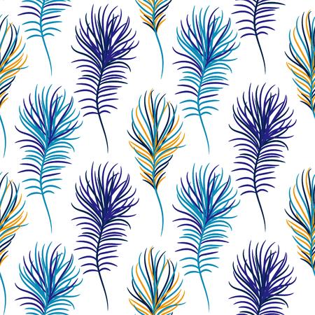 Bird blue seamless vector pattern.