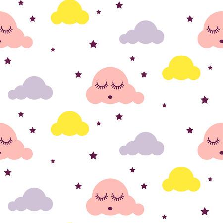 Sleepy clouds girlish seamless vector pattern. Illustration
