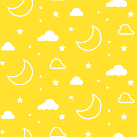 Moon and clouds yellow seamless vector pattern.