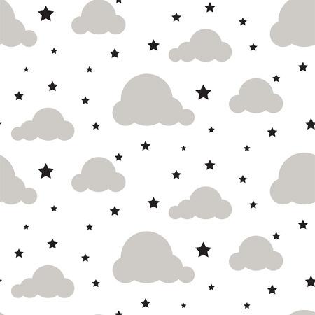 Starlight night sky seamless vector pattern.