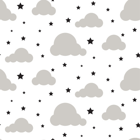 Starlight night sky seamless vector pattern.