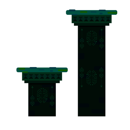 Ancient columns isolated vector illustration.