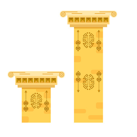 stanchion: Ancient columns isolated vector illustration.