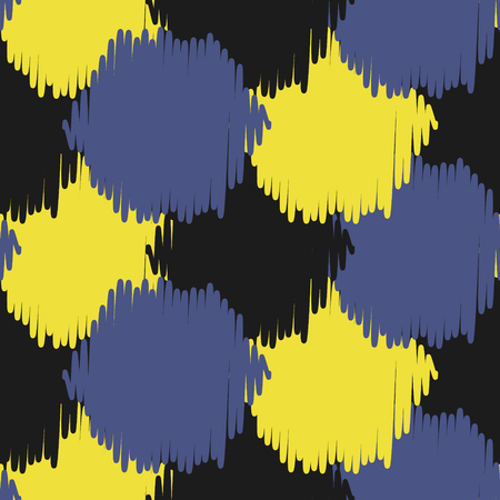 Ikat bold dots vector seamless pattern. Illustration
