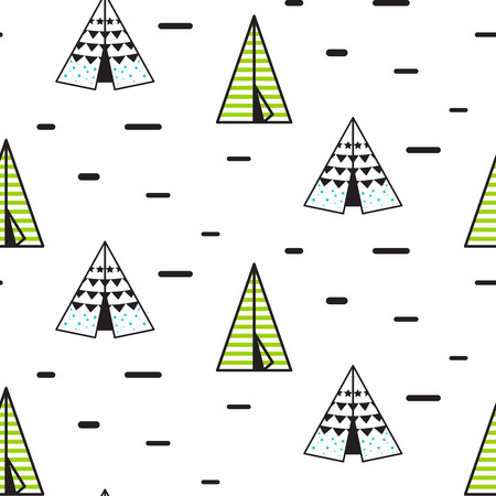 Teepee tent vector seamless pattern. Vector  sc 1 st  123RF.com & Tribal Indian Wigwam Pattern. Doodle Childish Minimalist ...