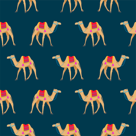 hump: Camel cartoon vector seamless pattern on blue. Illustration