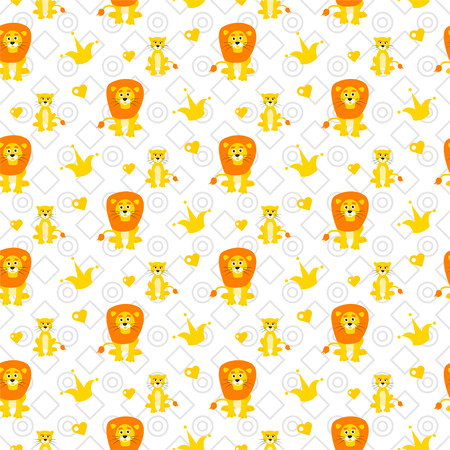 Cute lion and lioness pattern.
