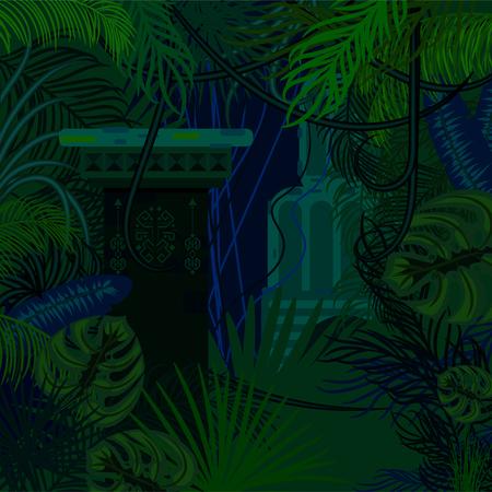 foliage: Thicket foliage jungle nature background. Illustration