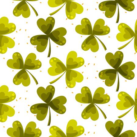 Clover trefoil leaf seamless vector pattern. Illustration