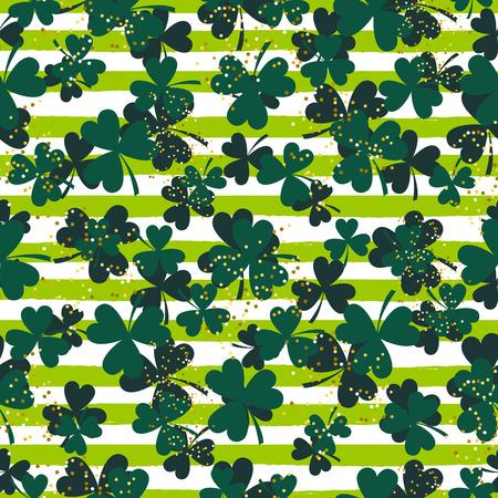 Shamrock green striped trefoil leaf seamless vector pattern. St. Patrcks day green clover glitter background. Illustration