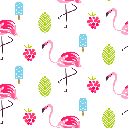 Summer pattern with flamingo, ice cream and raspberries.