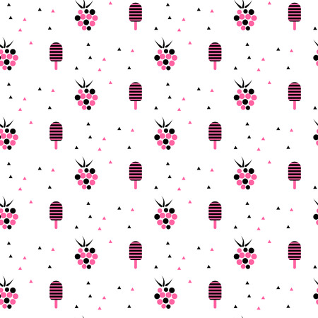 raspberry pink: Summer tasty pink pattern with ice cream and raspberries. Fresh seamless cute vector white background.