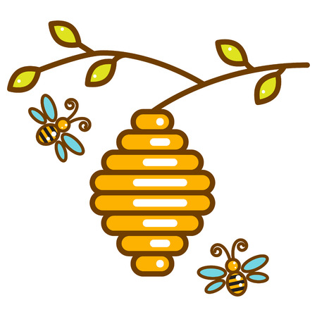 Cute vespiary with bees line isolated icon.