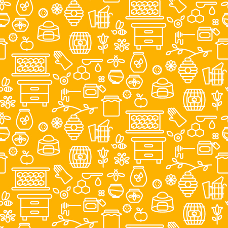 Honey outline icon seamless vector yellow pattern. Illustration