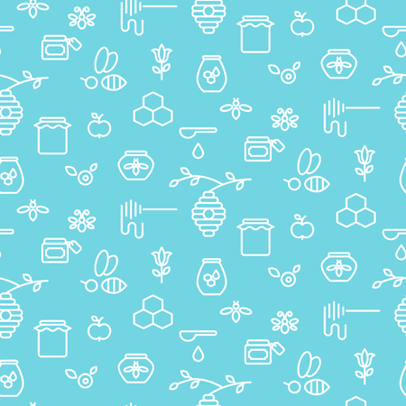 Apiary blue outline icon seamless vector pattern.