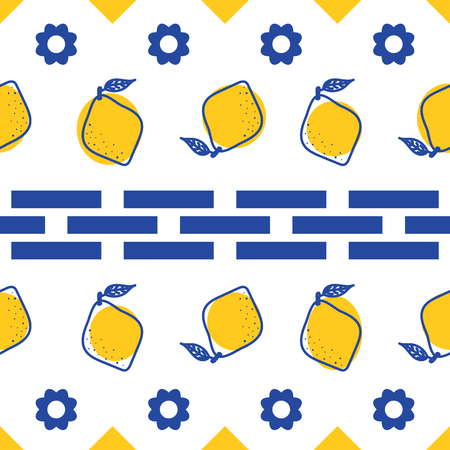 Blue and white lemon mediterranean seamless tile pattern. Illustration