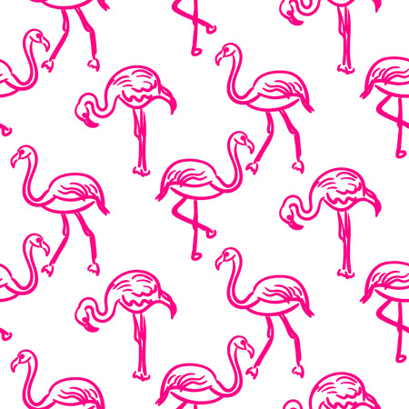Flamingo hot pink outline sketch seamless vector texture.