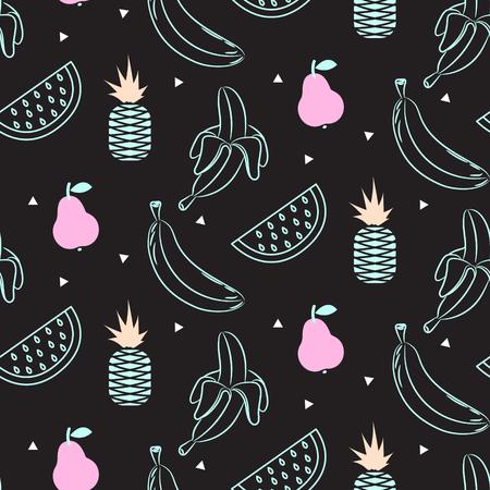Sketch line fruit salad seamless black pattern.